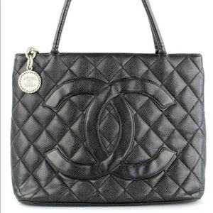 Chanel quilted caviar leather medallion tote bag